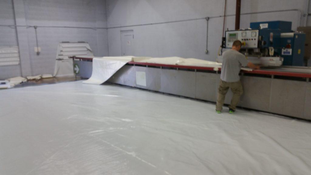 White eagles reskin fabric in warehouse