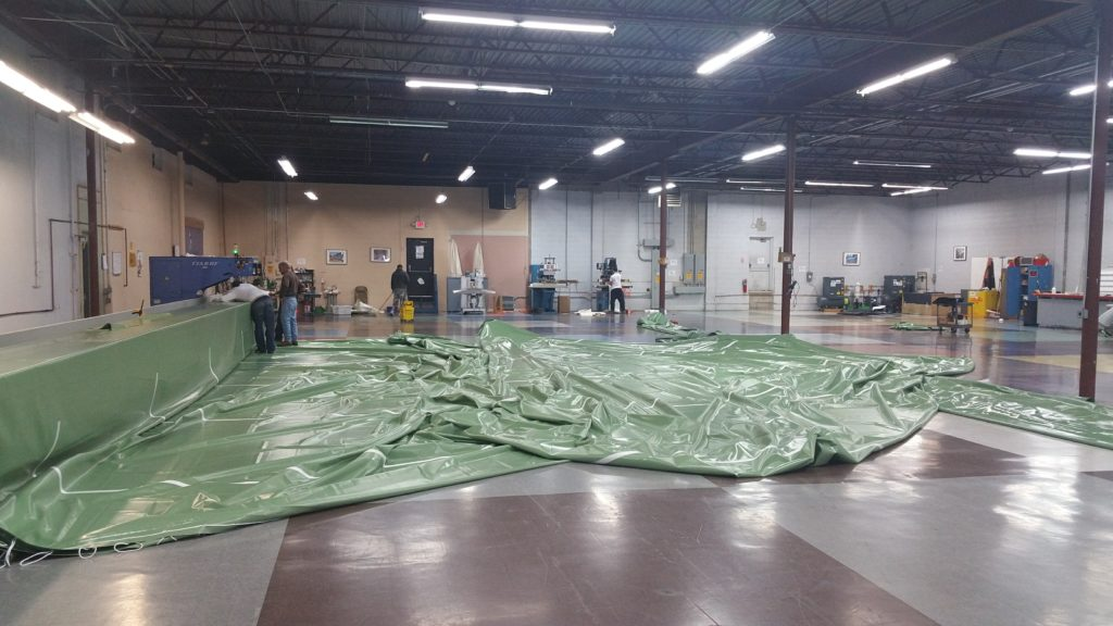 Fabric for Eagles facility in warehouse